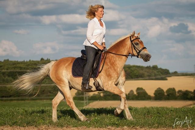 Pferdeshooting mit fenjArt Fotografie reiterin galoppiert mit einem haflinger ueber eine wiese